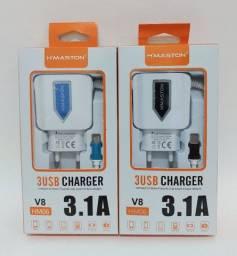 Carregador 3 USB charge v8 3.1A