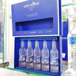 Kit Coleção Miniatura Vodka Grey Goose Francesa - 50ml - Original, Lacrada e Licenciada