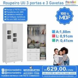 Roupeiro Uli 3 portas e 3 Gavetas