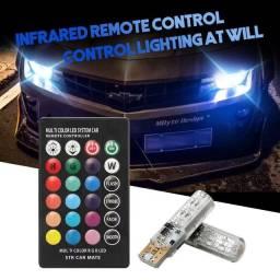 2 Pçs Lâmpada LED Lateral de Carro T10 em 7 Cores com Controle Remoto