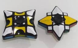 Kit 2 Cubo Mágico Rubiks Gyro Fidget Spinner Kids Presente Cube Finger Puzzle Anti Estress