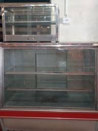 Estufa quente balcão e uma vitrine para salgados