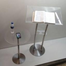 Púlpito de acrílico e aço inox modelo - Hillsong duas hastes para igrejas e capelas