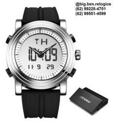 Relógio Sinobi visor digital e analógico