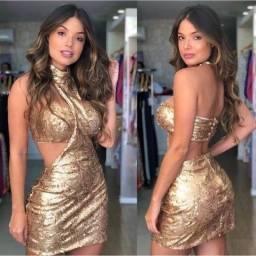Vestido paetê dourado