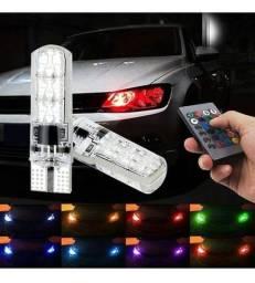 Lâmpada Lateral de Carro T10  RGB 7 LED Colorida com Controle Remoto<br>