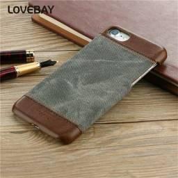 Capa Iphone 7 imitação tecido e couro