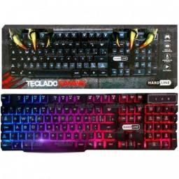 Teclado Gamer Semi-Mecanico c/ Led - Hardline KB-7010