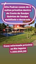 Casas 4 suítes Alto padrão Quintas de Sauípe mobiliada decorada 1.350 k