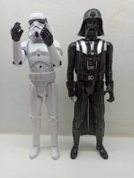 2 Boneco Star Wars Darth Vader Stormtrooper 30cm Sabre Com voz