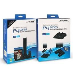 Cooler Base Ps4 Slim Ps4 Pro Ps4 Com Led dobe +2 baterias de controle