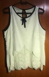 Blusa Branca com Renda - Luzia Fazzolli