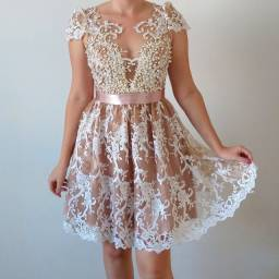 Vestido de festa Renda/Rose
