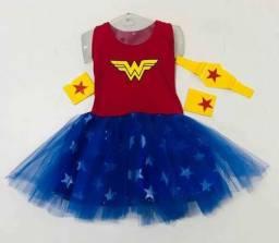 Fantasia infantil vestido Mulher Maravilha