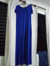 Vestido longo azul caneta novo