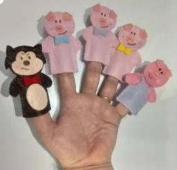 Kit palitoches e dedoches Três Porquinhos
