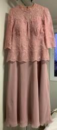 Vestido de festa longo cor rosa pêssego  tamanho 44