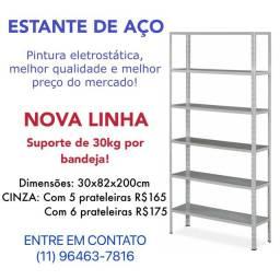 Título do anúncio: Estante De Aço Multi-uso, Cinza 30x82cm 5 Bandejas