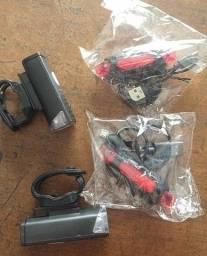 Kit lanterna Bike Led, Recarregável USB e Sinalizador traseiro