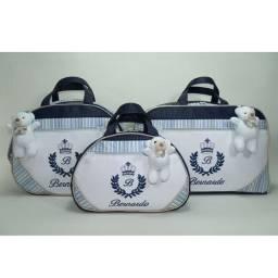 Kit 3 bolsas maternidade bordadas com nome do bebê