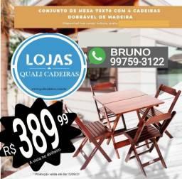 Título do anúncio: Oferta Mesa Dobrável + 4 Cadeiras Imbuía