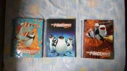 Cadernos capa dura dos Pinguins de Madagascar