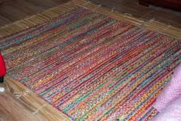 Tapete de Chão Etna Indiano de juta e algodão colorido 1,60x2,00m Perfeito estado