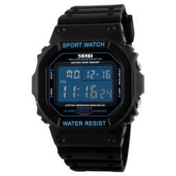 Relógio Skmei Masculino Preto, Fundo Azul, Novo!! (Estilo G Shock DW 5200)