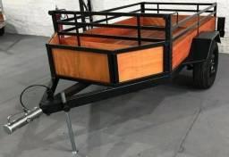 Carretinha qualidade de primeira Hitch Car - 1,20 x 2,00 com cesto frontal