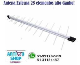 Antena Externa 28 Elementos Alto Ganho Digital Hdtv Sinal Digital