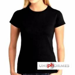 Camisa baby look feminina preta para sublimação - 100% poliester