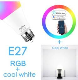 Lâmpada led inteligente Smart, 15w wifi led e27 colorida rgb alexa e google novas