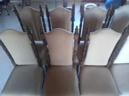 Conjunto De 10 Cadeira De Imbuia