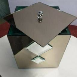 Lixeira espelho bronze e bisotê