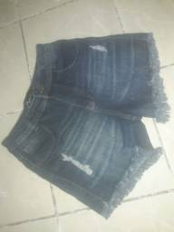Sort azul jeans cintura alta tm 40 pequeno