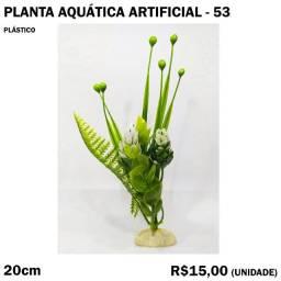 Planta Verde com Flor Branca para Aquário