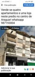 Quatro apartamentos e uma loja comercial a venda no centro de Araguari