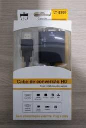 Cabo Adaptador Conversor Hdmi Para Vga Com Saída P2 De Áudio (Novo)