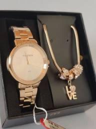 Relógio original banhado a ouro 1 ano de garantia