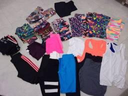 Lote roupas fitnes novas em poliamida e suplex,47 peças a preço abaixo do custo!