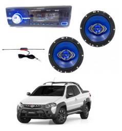 Radio Mk2 Bluetooth + Alto Falante 6 pol Quadriaxial+ Antena Para Strada / Consulte