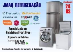 Conserto de geladeira, freezer e máquina de lavar roupas.