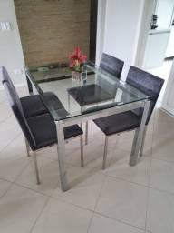 Mesa c/ tampo de vidro 125x80cm c/ 4 cadeiras chenille c/ pés de alumínio
