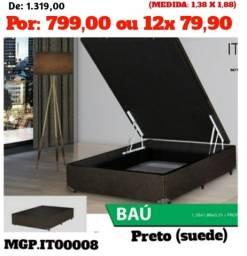 Base Box Bau de Casal- Box Bau Casal 1,38- Cama Bau- Bau Box-Saldão Maringa