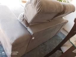 Sofá retrátil encosto reclinável Suede impecável
