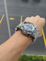 Relógio G-Shock Ga110 Cinza fundo preto Automático digital ponteiro a prova d'agua