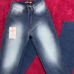 Calça jeans elastano cós alto