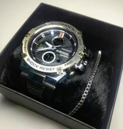 Relógios g-shock + brinde pulseira em aço inoxidável + bateria nova