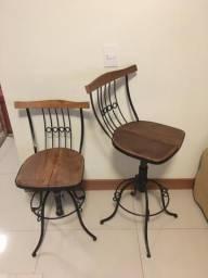 Banqueta de ferro e madeira, É giratória e regulável comprar usado  Ribeirão Preto