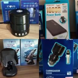 Smartwatch, carregador, Fones de ouvido e cartão de memória
